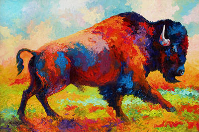 Prairie Painting - Running Free - Bison by Marion Rose