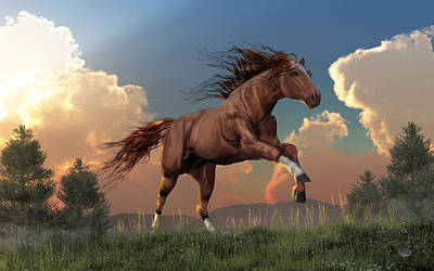 Chestnut Dun Horse Digital Art - Running Free by Daniel Eskridge