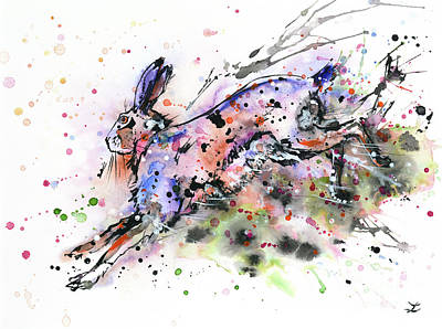 March Hare Painting - Running Hare by Zaira Dzhaubaeva