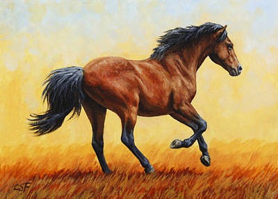 Bay Horse Painting - Running Horse - Evening Fire by Crista Forest