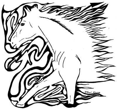 Yonatan Drawing - Running Horse Maze by Yonatan Frimer Maze Artist