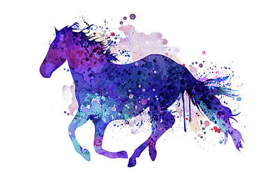 Horse Mixed Media - Running Horse Watercolor Silhouette by Marian Voicu
