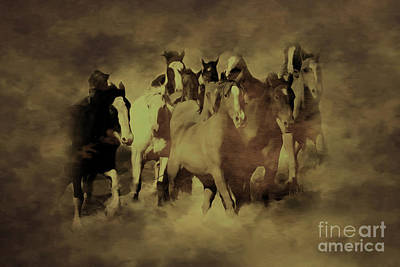 Horses Stampede Painting - Running Horses 876h by Gull G