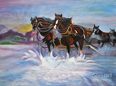Painting - Running Horses- Beach Gallop by Manjiri Kanvinde