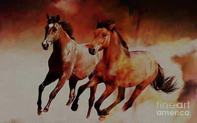 Running Horses Art Print by Gull G