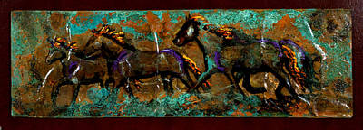 Mixed Media - Running Horses by Laurie Tietjen