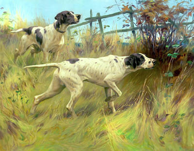 Dog In Landscape Mixed Media - Running In The Meadow by Georgiana Romanovna