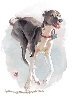 Watercolor Pet Portraits Painting - Running Italian by Debra Jones