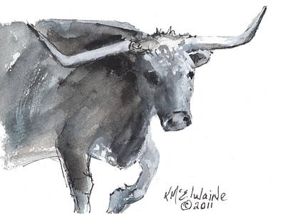 Running Texas Longhorn Watercolor Painting By Kmcelwaine Art Print by Kathleen McElwaine