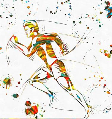 Muscle Mixed Media - Running Man Paint Splatter by Dan Sproul
