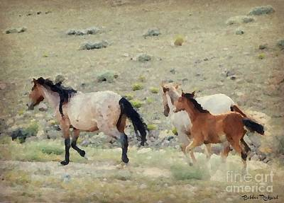Photograph - Running Mustangs Painting by Bobbee Rickard
