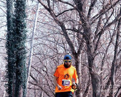 Marathon Digital Art - Running Orange  by Steven Digman