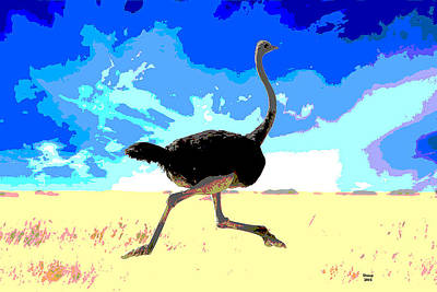 Sandpiper Mixed Media - Running Ostrich by Charles Shoup