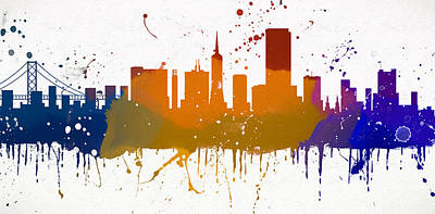 Painting - Running Paint San Francisco Skyline by Dan Sproul