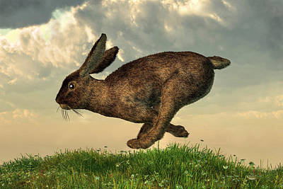 Running Rabbit Art Print by Daniel Eskridge