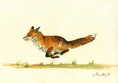 Poster Painting - Running Red Fox by Juan  Bosco