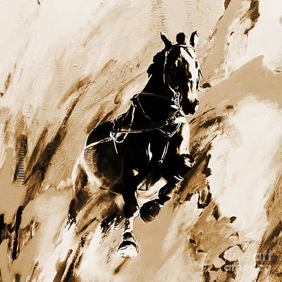 Horse Painting - Running Single Horse by Gull G
