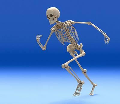 Running Skeleton, Artwork Art Print by Roger Harris