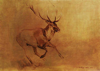 Painting - Running Stag by Attila Meszlenyi