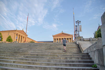 Running The Rocky Steps - Philadelphia Museum Of Art Art Print