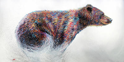 Grizzly Bear Painting - Running Wild by Teshia Art