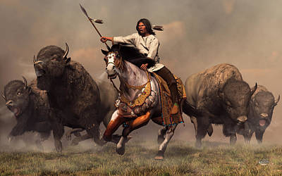 Western Art Digital Art - Running With Buffalo by Daniel Eskridge