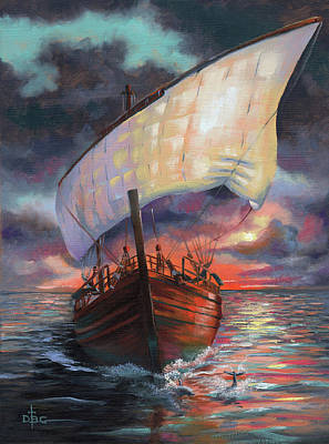 Painting - Running With The Dolphins At Sunset by David Bader