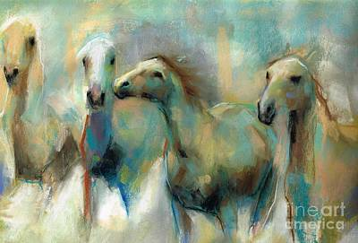 Horse Pastels Painting - Running With The Palominos by Frances Marino