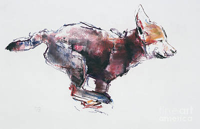 Watercolor Figure Painting - Running Wolf Pup by Mark Adlington