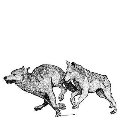 Running Wolves Art Print by Karl Addison