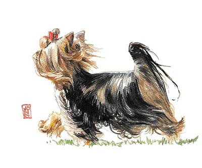 Watercolor Pet Portraits Wall Art - Painting - Running Yorkie by Debra Jones