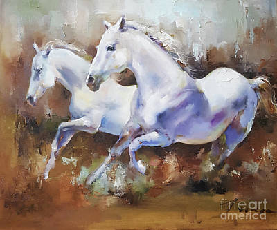 On Cavas Painting - Runnung Horses by Teresa Yoo