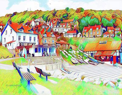 Digital Art - Runswick Bay Village by Steve Lockwood