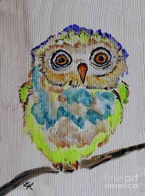 Painting - Runt Of The Litter - Colorful Owl Art #560 by Ella Kaye Dickey
