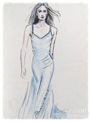 Red Gown Drawing - Runway Walk by Barbara Chase