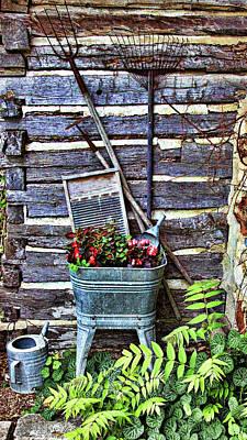 Rake Digital Art - Rural American Graden Scene by Linda Phelps