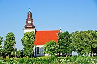 Photograph - Rural Church At Sunny Day Poland by Elzbieta Fazel
