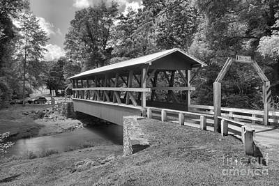 Photograph - Rural Colvin Covered Bridge Black And White by Adam Jewell
