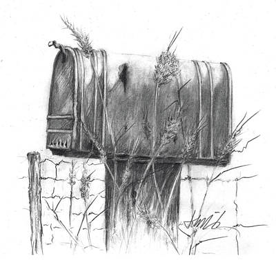 Drawing - Rural Country Mailbox by Jacki Kellum