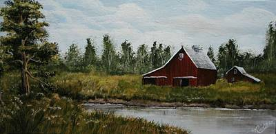 Rurual Painting - Rural Farm And Pond by Karen Cortese