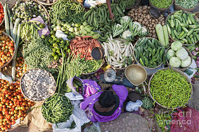 Trader Photograph - Rural Indian Vegetable Market by Tim Gainey