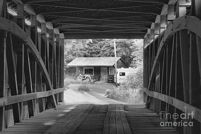 Photograph - Rural Indiana Through A Covered Bridge Black And White by Adam Jewell