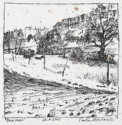 Drawing - Rural Landscape Ink Drawing by Martin Stankewitz