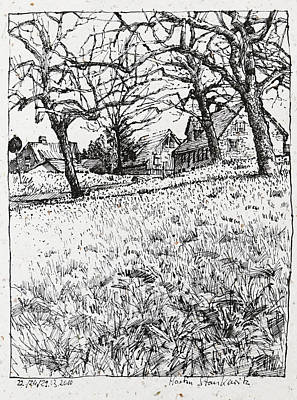 Drawing - rural landscape ink drawing Maulbronn Schmie by Martin Stankewitz