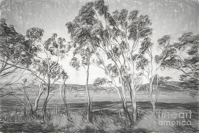 Farmland Digital Art - Rural Landscape Pencil Sketch by Jorgo Photography - Wall Art Gallery