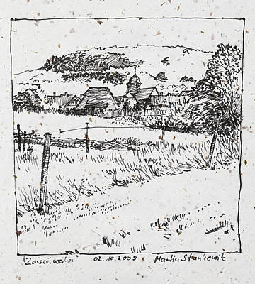 Drawing - Rural Landscape Plein Air Ink Drawing by Martin Stankewitz