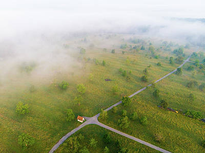 Photograph - Rural Landscape With Morning Fog Aerial View by Matthias Hauser