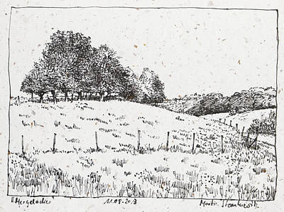 Drawing - Rural Landscape With Trees And Meadow Ink Drawing by Martin Stankewitz