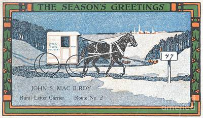 Painting - Rural Letter Carrier's Christmas Card  by Celestial Images