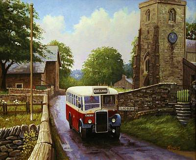 Painting - Rural Leyland Single-decker. by Mike Jeffries